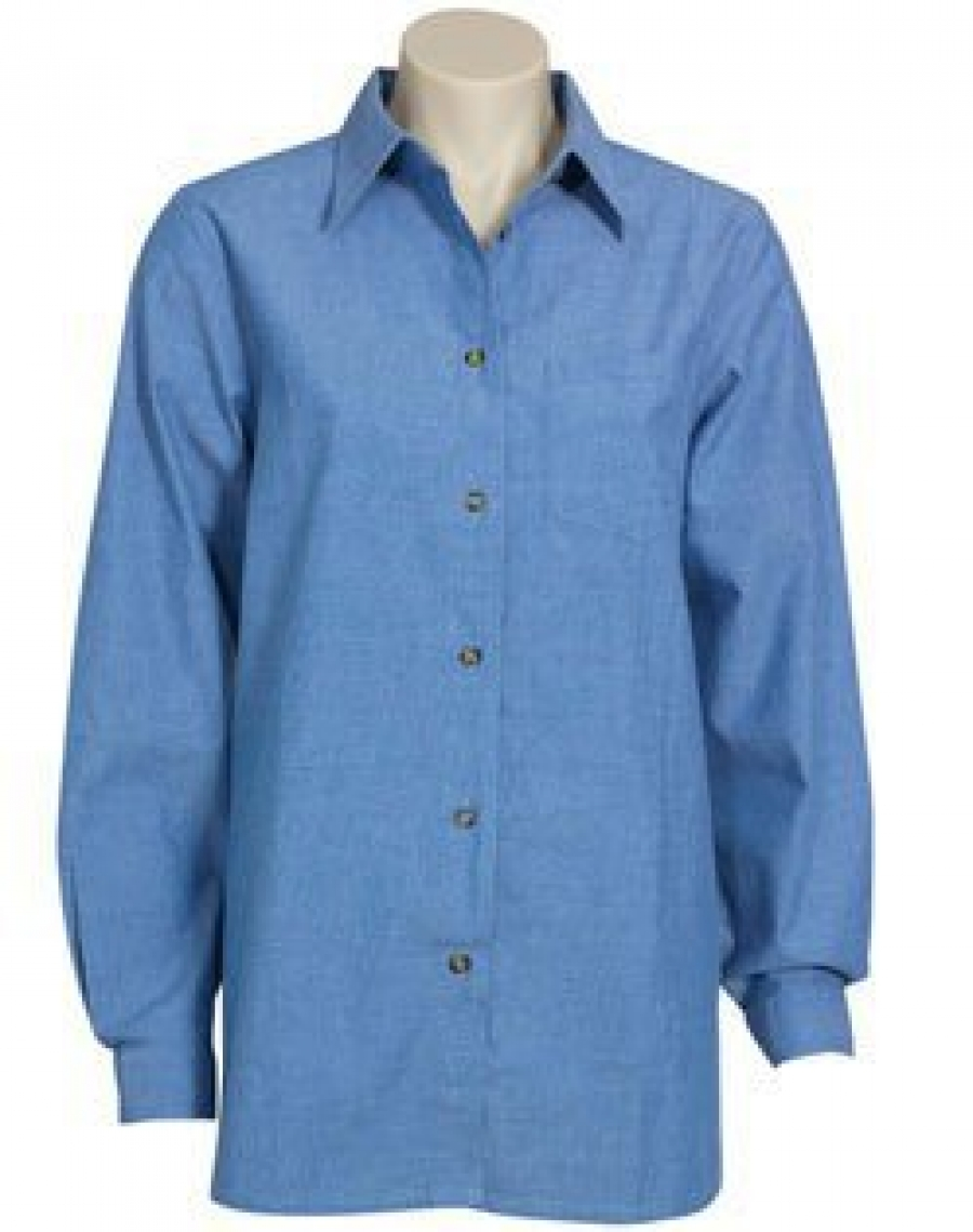 Ladies long sleeve wrinkle free chambray shirt for Chambray shirt women
