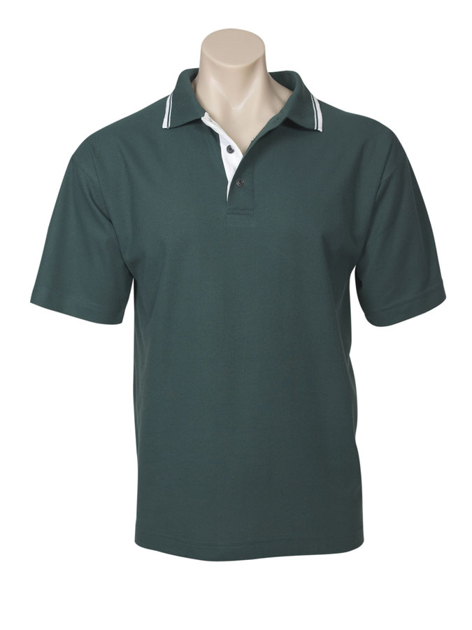 Mens Close Pique Knit Contrast Polo
