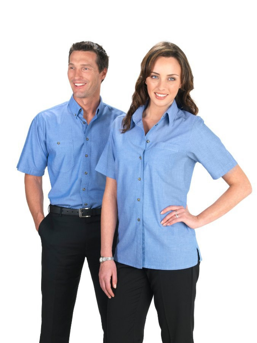 Men's Short Sleeve 'Wrinkle Free' Chambray Shirt