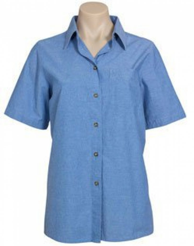 Ladies short sleeve wrinkle free chambray shirt 1 for Wrinkle free shirts for women