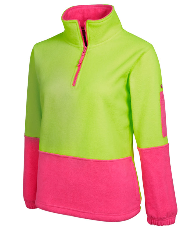 Ladies Hi Vis Half Zip Polar Fleece