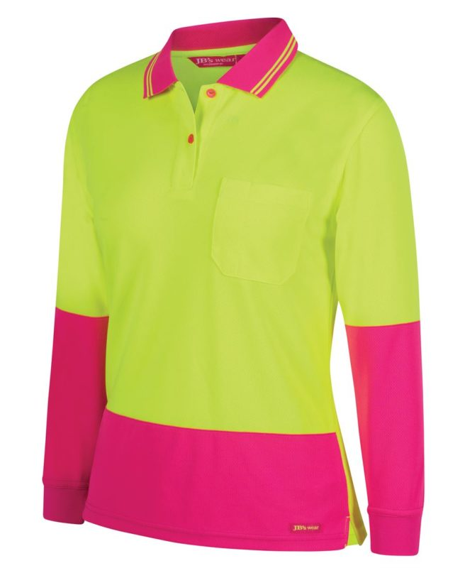 Hi Vis ladies l/s jacquard polo shirt