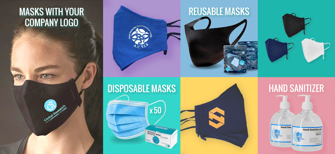 Custom branded, disposable and reusable face masks